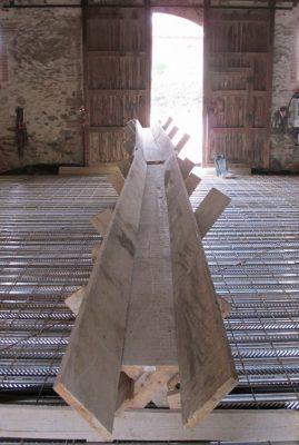 toboggan à béton en bois